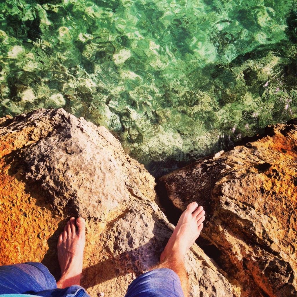 barefoot rock hopping